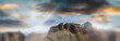 Panoramic seunset aerial view of beautiful mountain chain