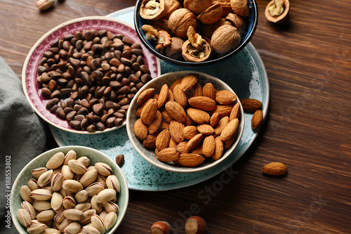 Assorted nut on wooden table