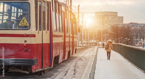 Foto Murales tram on a bridge in winter close-up