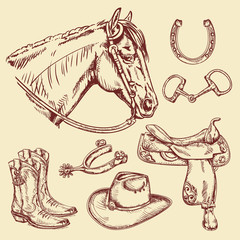 Western Riding Tack - Hand drawn pen and ink style illustration set