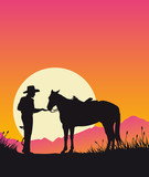 Cowboy and horse at sunset - Wild West vector background