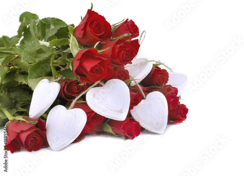 red roses and white hearts