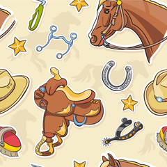 Wild West Cartoon Style Seamless Pattern with horse, saddle and horse shoe
