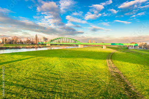 Foto Murales Sava river landscape nature. / Scenic view at marble Sava river in Zagreb town, popular relaxation zone in Croatia, Europe.