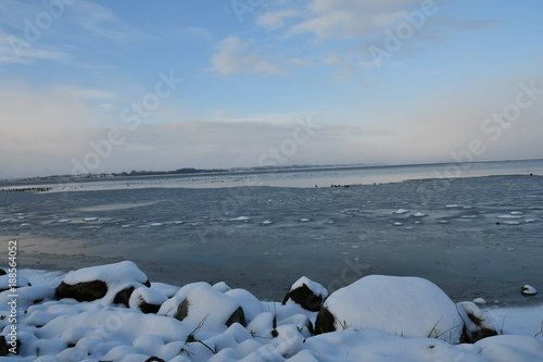 Winter impressions from Puck, a small Kashubian harbor city on the Zatoka pucka in Pomerania, here you can see beautiful photographs of the harbor with a view of the Zatoka pucka, Poland