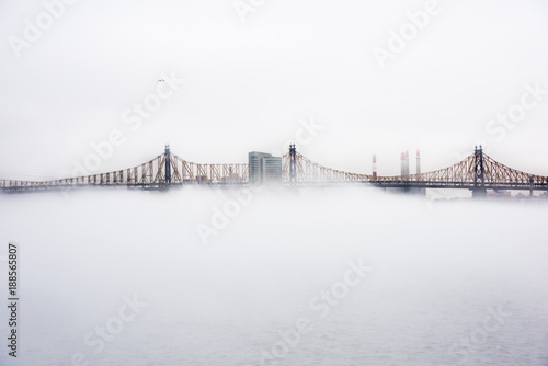 Foto op Plexiglas New York A dense fog covered New York City during the winter's day on January of 2018. View of Ed Koch Queensboro Bridge.