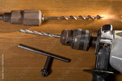 Foto Murales Still Life with Power Drill and Hand Auger