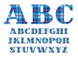 English alphabet, font, plaid, blue, vector. Capital letters of the English alphabet. Letters with serifs. Checkered vector font. Blue squares and thin red line.