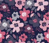 Luxury floral seamless pattern with geometric texture in deep blue and pale pink color. Abstract spring blossom repitable motif for fabric wrapping paper, web and print surface design. - 188580832