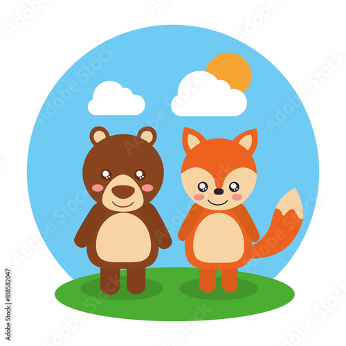 two cute animals bear and fox friendly landscape vector illustration