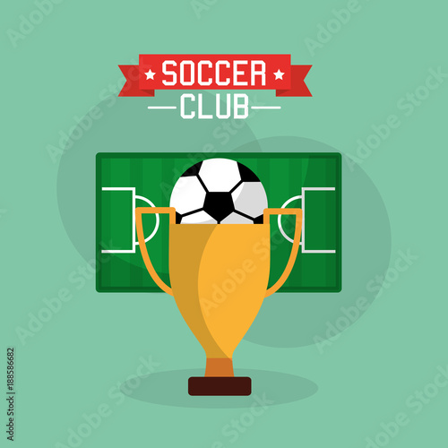 soccer club trophy ball and field sport vector illustration