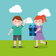 happy boy and girl with gift vector illustration - 188587678