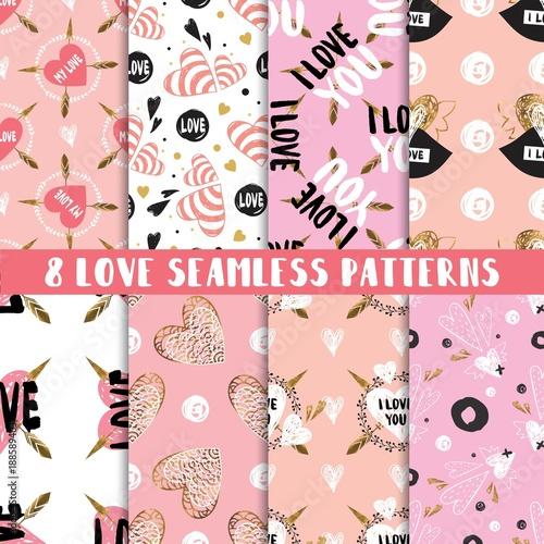Modern set of cute seamless patterns