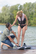 learning water skiing