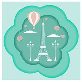 Card design with symbols of Paris: Eiffel tower, balloon, lamp,  hearts paper art style