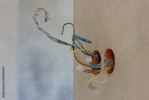 Awesome Electric Socket With Colorful Wires In New House Interior Under Wiring 101 Photwellnesstrialsorg