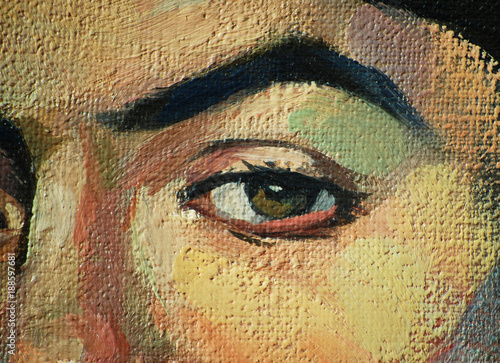 close-up of a female face with an eye, oil painting on a texture canvas, illustration © Mikhail Zahranichny