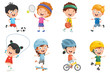 Vector Illustration Of Kids Making Sport - 188600209