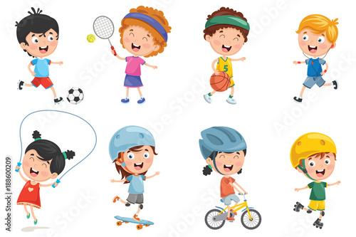 Vector Illustration Of Kids Making Sport - 188600209