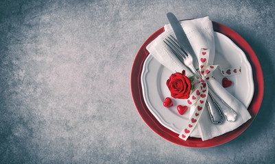 Valentines day table place setting.