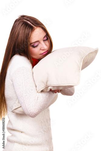 Girl relaxing on pillow.