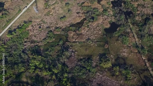 Foto op Canvas Natuur Aerial view of rural zone with road and power lines