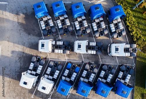 Fotobehang Trekker Aerial drone view of parked trucks.