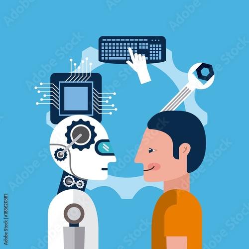 Foto op Aluminium Kasteel cartoon man and artificial intelligence robot tools vector illustration