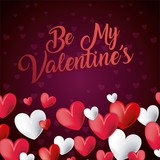 be my valentines card invitation romantic celebration vector illustration - 188621452