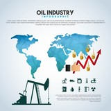 oil industry infographic extraction financial growth world vector illustration