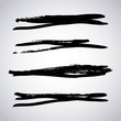 set of artistic black paint hand made creative ink brush strokes isolated on white background vector illustration