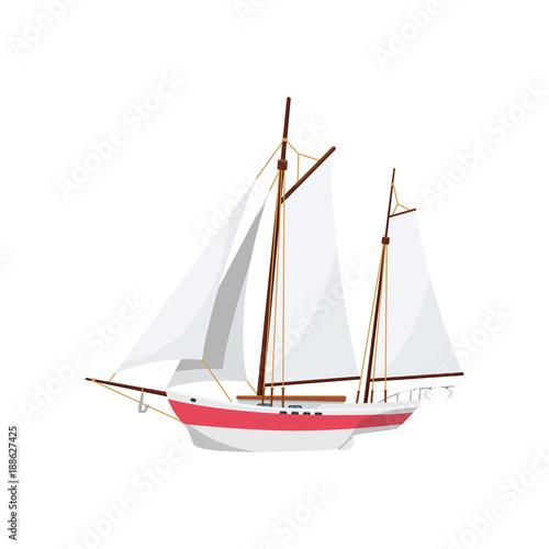 Fototapeta Ocean sailboat isolated on white icon