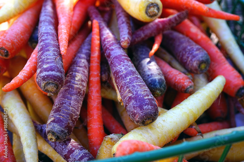 Colorful purple, red and white heirloom carrots at a farmers market - 188628475
