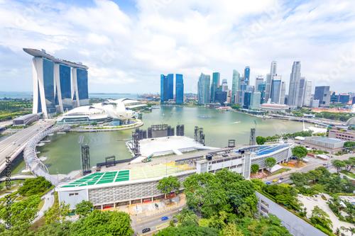 modern buidlings near water in modern city