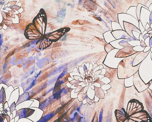 Tuinposter Vlinders in Grunge Flutter Fields
