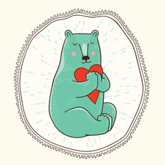 Meditating bear vector illustration
