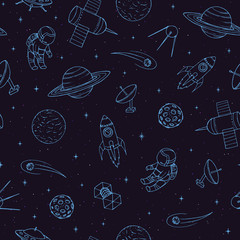 Hand drawn vector seamless pattern with cosmonauts, satelites, rockets, planets, moon, falling stars and UFO. Cosmic ornament on the dark background.