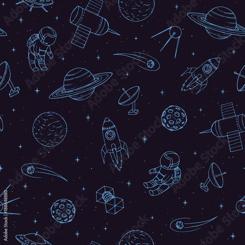 Hand drawn vector seamless pattern with cosmonauts, satelites, rockets, planets, moon, falling stars and UFO. Cosmic ornament on the dark background. - 188648880