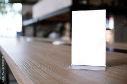 Mock Up Menu Frame Standing On Wood Table In Bar Restaurant Cafe - Standing table for restaurant