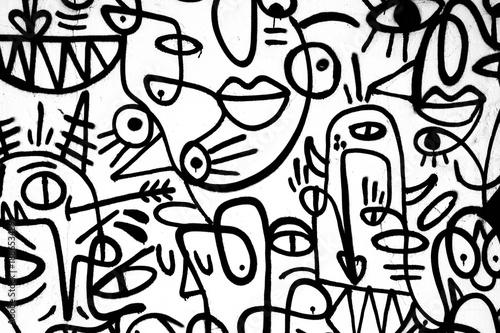 black-and-white pattern graffiti on the wall.Spain,Jerez,January 2018.Interesting background - 188653489