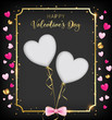 black valentine day banner included heart glitter ,border and happy valentine's day as golden shade, two die cut hearts on the middle, bottom have a pink bow. golden elements are reflected gold flare - 188655638