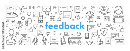 Modern line web banner for feedback
