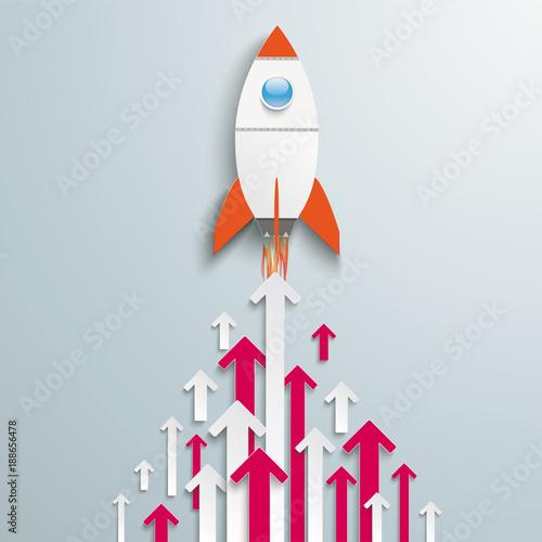 Fototapeta Arrows Up White Pink Centre Rocket