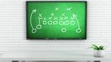 American Football Tactics on Green Chalkboard in White Room - 188660086