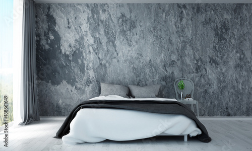The 3d rendering inteiror design of modern bedroom and concrete wall background texture