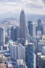 City center with Petronas twin towers, Kuala Lumpur skyline