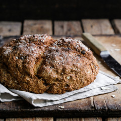 homemade bread on a wooden background