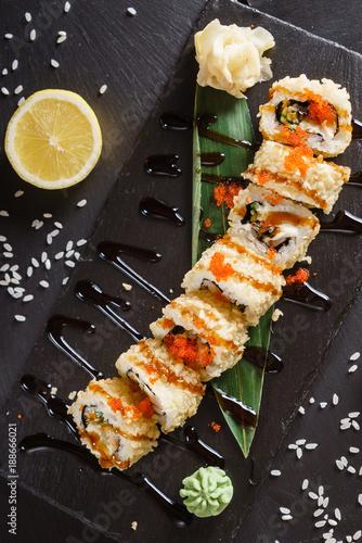 sushi on the black background - 188666021