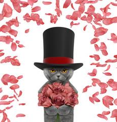 Valentines cat in a high hat cylinder with roses