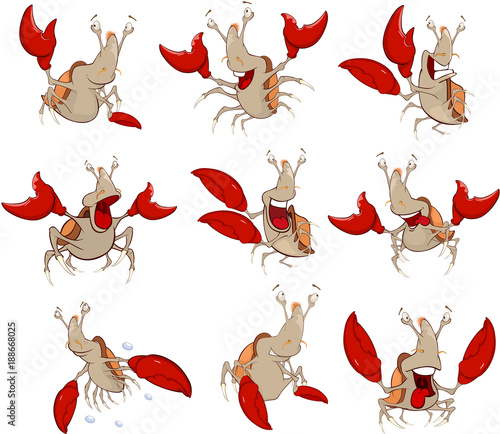 Fotobehang Babykamer Set of Cartoon Illustration. A Cute Crabs for you Design